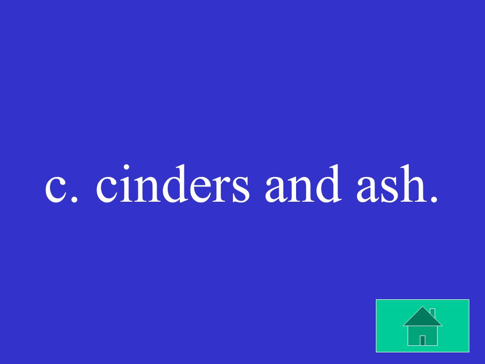 A cinder cone volcano is made up of a. cinders and shields.
