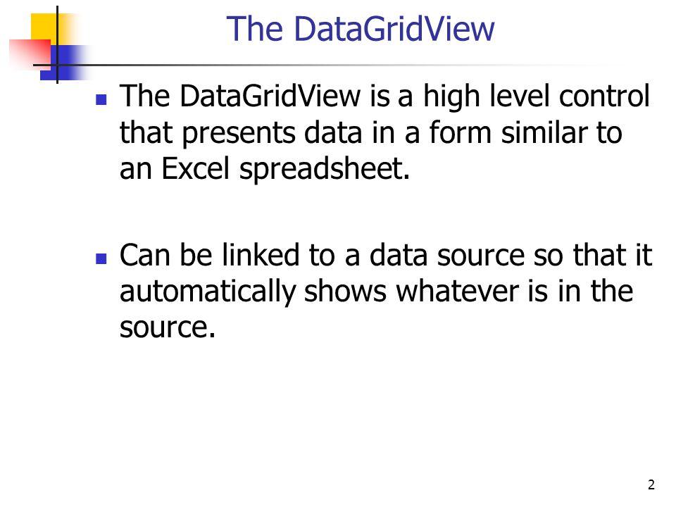 43 Tighten Up Some Columns public Form1() { InitializeComponent(); import_schedule(); dgvSchedule.DataSource = Schedule; DataGridViewColumnCollection cols = dgvSchedule.Columns; cols[2].AutoSizeMode = DataGridViewAutoSizeColumnMode.None; cols[2].Width = 30; // Section cols[4].AutoSizeMode = DataGridViewAutoSizeColumnMode.None; cols[4].Width = 30; // Credit Hours cols[7].AutoSizeMode = DataGridViewAutoSizeColumnMode.None; cols[7].Width = 30; // Seats Open }