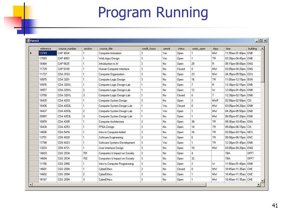 41 Program Running