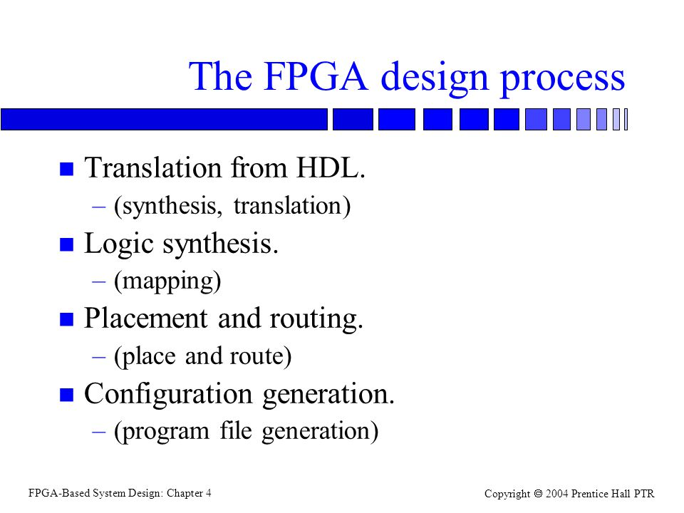 FPGA-Based System Design: Chapter 4 Copyright  2004 Prentice Hall PTR The FPGA design process n Translation from HDL.
