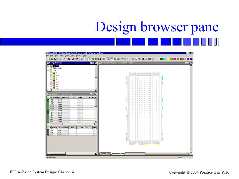 FPGA-Based System Design: Chapter 4 Copyright  2004 Prentice Hall PTR Design browser pane
