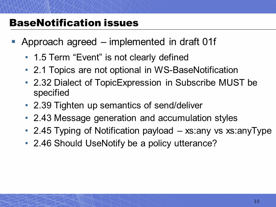 "10 BaseNotification issues  Approach agreed – implemented in draft 01f 1.5 Term ""Event"" is not clearly defined 2.1 Topics are not optional in WS-Base"