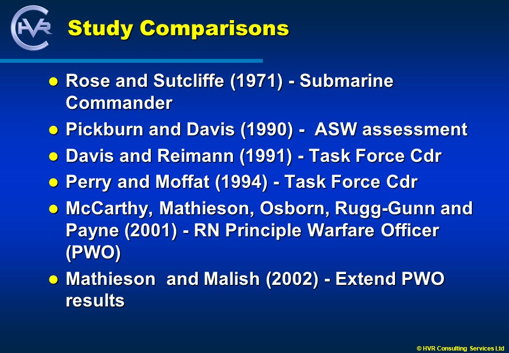 © HVR Consulting Services Ltd Study Comparisons Rose and Sutcliffe (1971) - Submarine Commander Rose and Sutcliffe (1971) - Submarine Commander Pickburn and Davis (1990) - ASW assessment Pickburn and Davis (1990) - ASW assessment Davis and Reimann (1991) - Task Force Cdr Davis and Reimann (1991) - Task Force Cdr Perry and Moffat (1994) - Task Force Cdr Perry and Moffat (1994) - Task Force Cdr McCarthy, Mathieson, Osborn, Rugg-Gunn and Payne (2001) - RN Principle Warfare Officer (PWO) McCarthy, Mathieson, Osborn, Rugg-Gunn and Payne (2001) - RN Principle Warfare Officer (PWO) Mathieson and Malish (2002) - Extend PWO results Mathieson and Malish (2002) - Extend PWO results