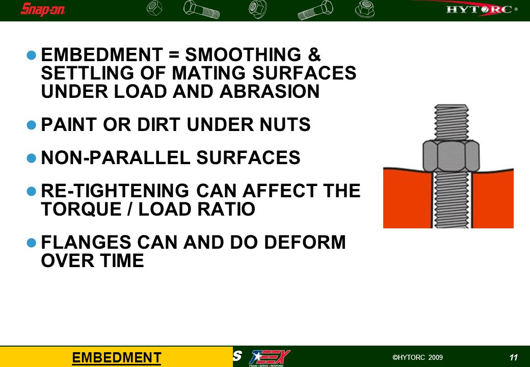 ©HYTORC 2009 HYTORC -WIND APPLICATIONS 11 EMBEDMENT = SMOOTHING & SETTLING OF MATING SURFACES UNDER LOAD AND ABRASION PAINT OR DIRT UNDER NUTS NON-PARALLEL SURFACES RE-TIGHTENING CAN AFFECT THE TORQUE / LOAD RATIO FLANGES CAN AND DO DEFORM OVER TIME EMBEDMENT