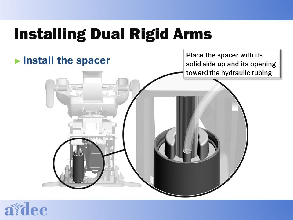 Installing Dual Rigid Arms ► Install the spacer Place the spacer with its solid side up and its opening toward the hydraulic tubing