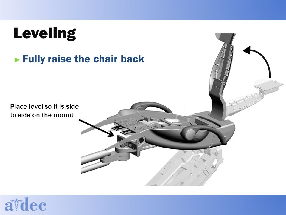 Leveling ► Fully raise the chair back Place level so it is side to side on the mount