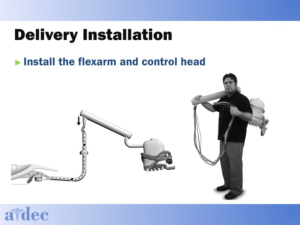 Delivery Installation ► Install the flexarm and control head