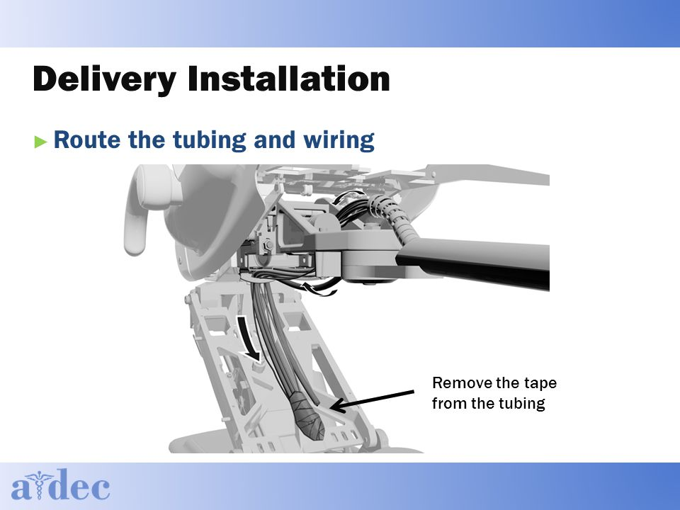 Delivery Installation ► Route the tubing and wiring Remove the tape from the tubing