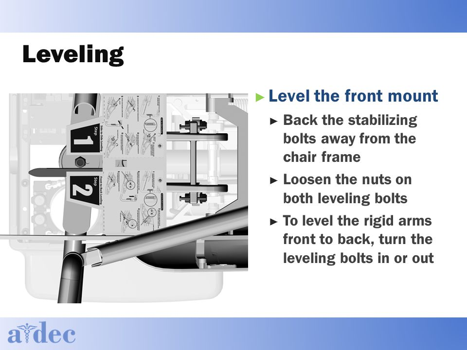 Leveling ► Level the front mount ► Back the stabilizing bolts away from the chair frame ► Loosen the nuts on both leveling bolts ► To level the rigid arms front to back, turn the leveling bolts in or out