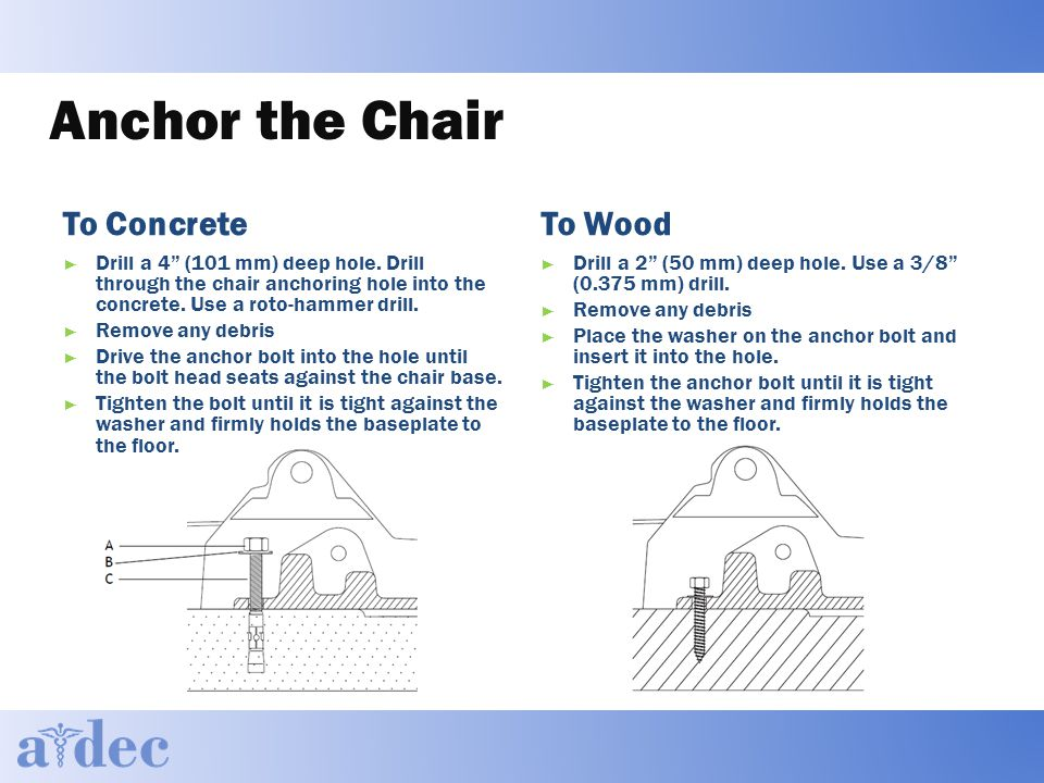 Anchor the Chair To Concrete ► Drill a 4 (101 mm) deep hole.
