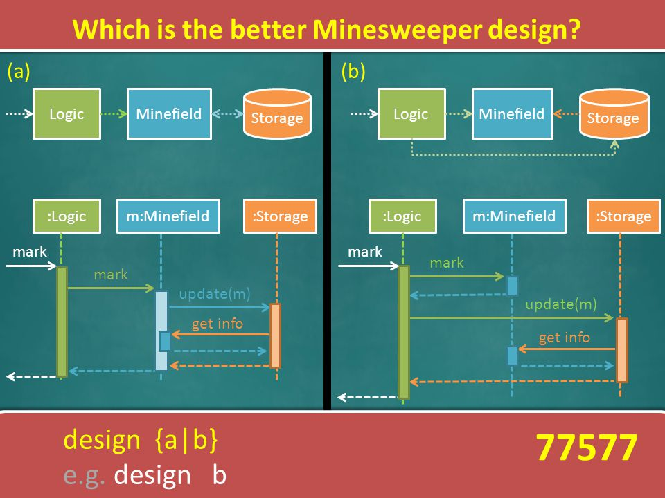 Which is the better Minesweeper design? LogicMinefield Storage LogicMinefield Storage :Logicm:Minefield:Storage mark update(m) :Storage mark update(m)