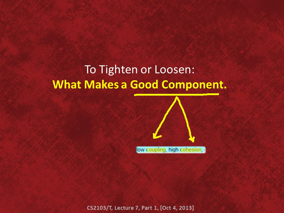 To Tighten or Loosen: What Makes a Good Component. CS2103/T, Lecture 7, Part 1, [Oct 4, 2013]