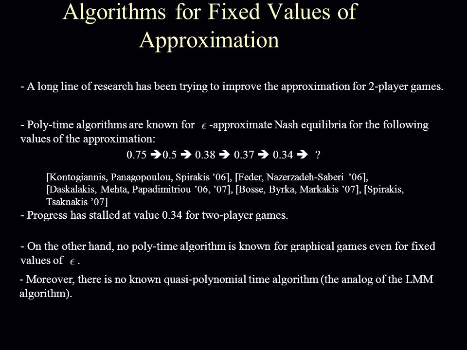 Algorithms for Fixed Values of Approximation [Kontogiannis, Panagopoulou, Spirakis '06], [Feder, Nazerzadeh-Saberi '06], [Daskalakis, Mehta, Papadimitriou '06, '07], [Bosse, Byrka, Markakis '07], [Spirakis, Tsaknakis '07] - A long line of research has been trying to improve the approximation for 2-player games.
