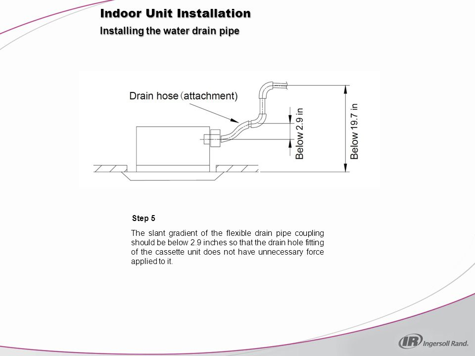 Installing the water drain pipe Step 5 Indoor Unit Installation The slant gradient of the flexible drain pipe coupling should be below 2.9 inches so that the drain hole fitting of the cassette unit does not have unnecessary force applied to it.
