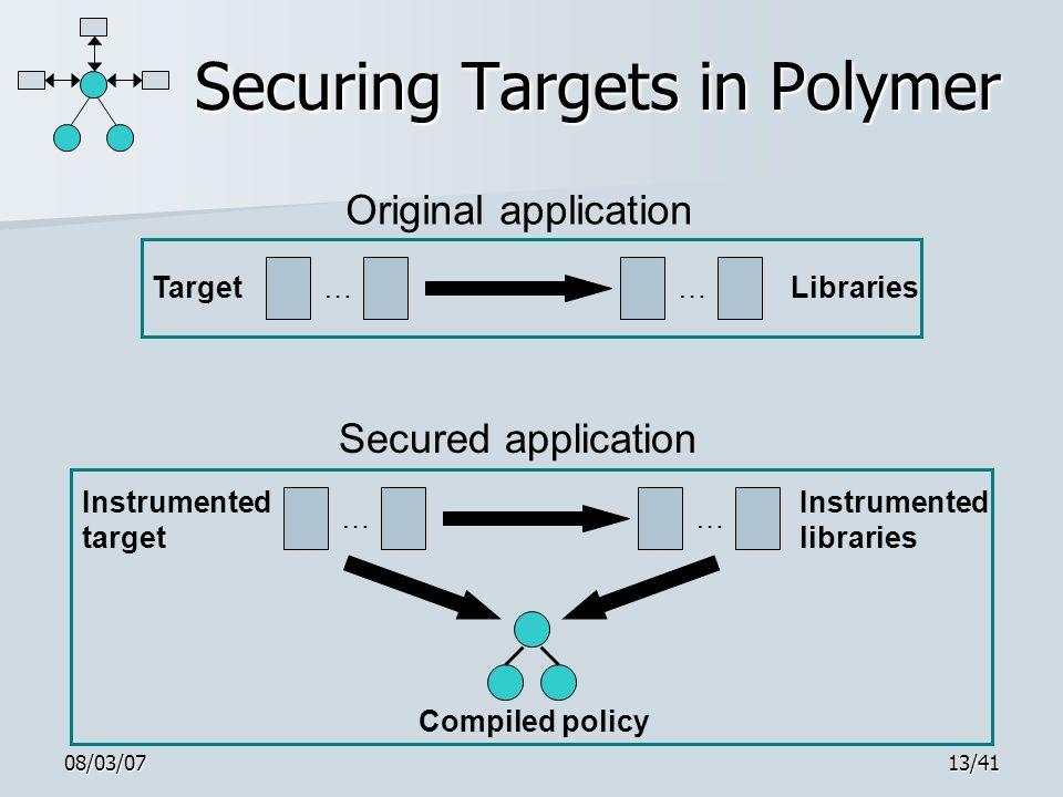 08/03/0713/41 Securing Targets in Polymer TargetLibraries…… Original application Instrumented target Instrumented libraries Compiled policy …… Secured application