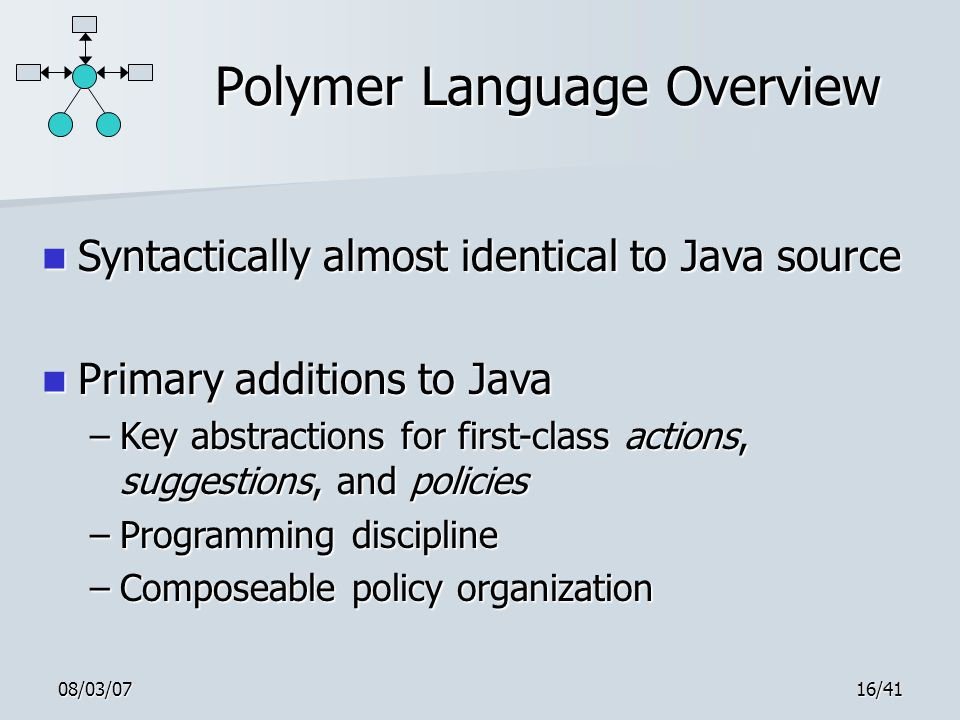 08/03/0716/41 Polymer Language Overview Syntactically almost identical to Java source Syntactically almost identical to Java source Primary additions