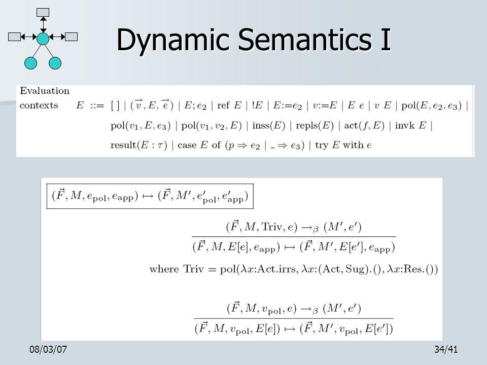 08/03/0734/41 Dynamic Semantics I