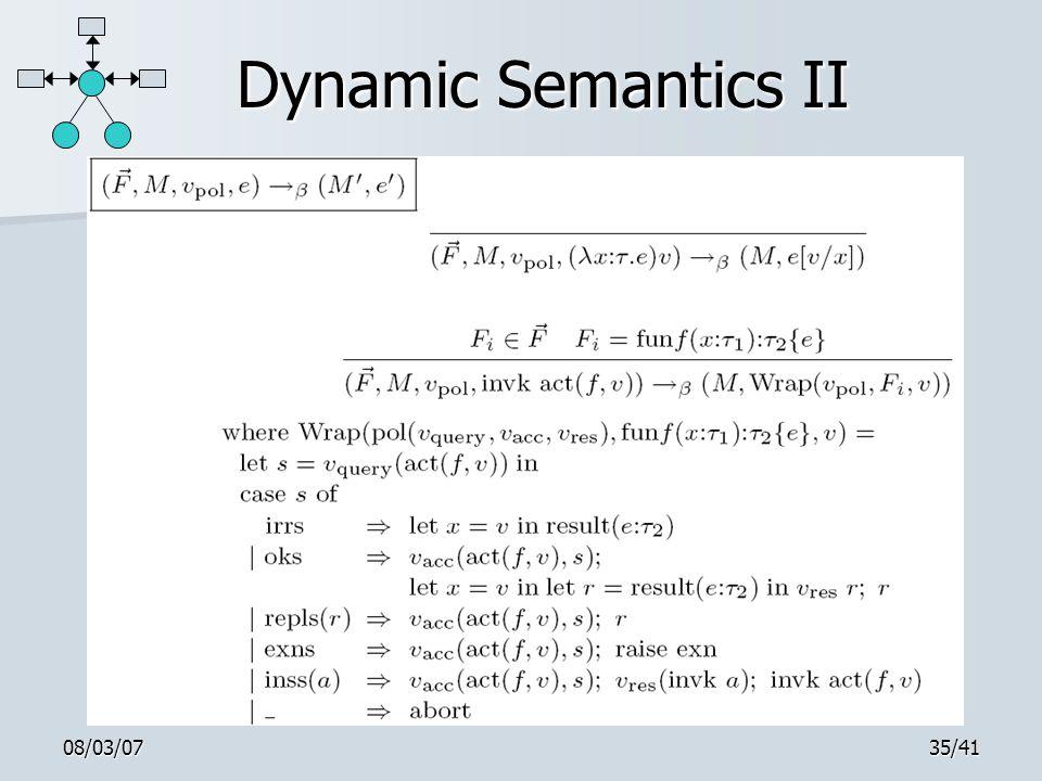08/03/0735/41 Dynamic Semantics II