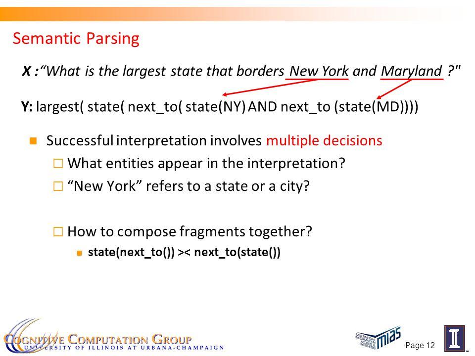 Page 12 Semantic Parsing Successful interpretation involves multiple decisions  What entities appear in the interpretation.