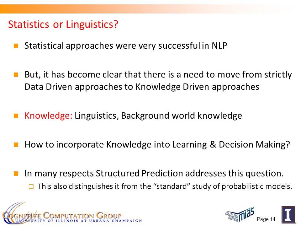 Page 14 Statistics or Linguistics.