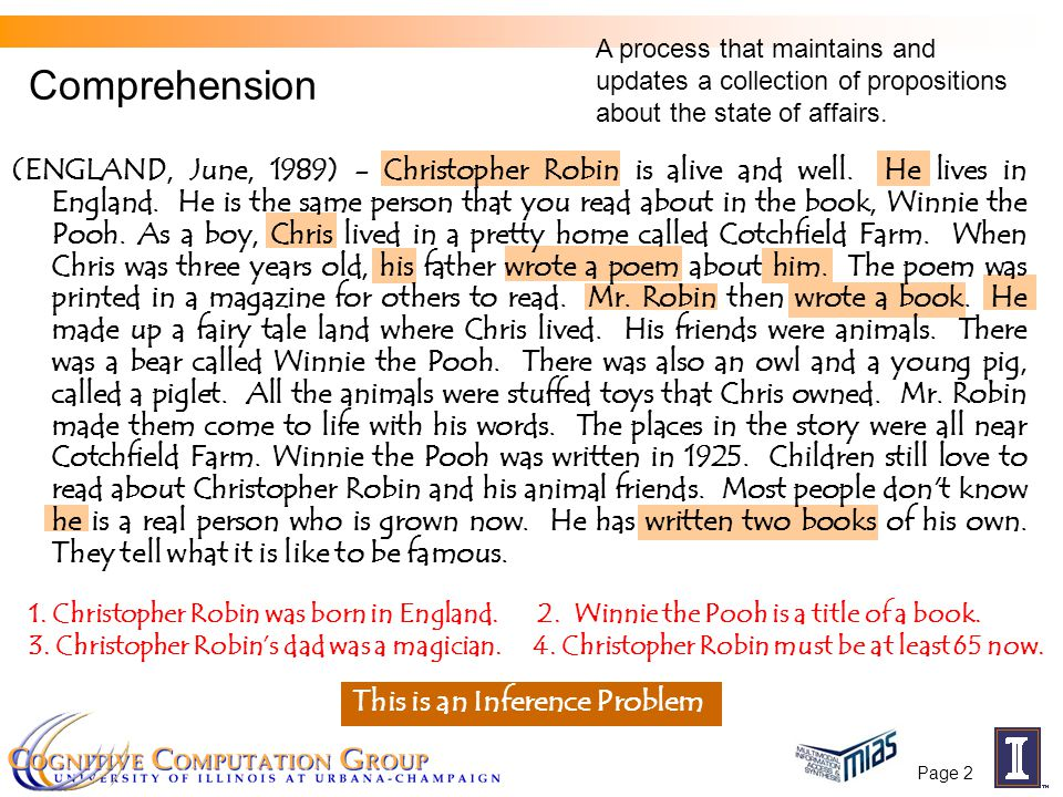 Page 2 Comprehension 1. Christopher Robin was born in England.