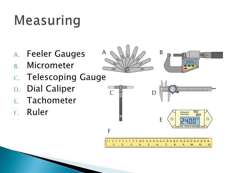 Feeler Gauge – To verify distance between parts.Ie.