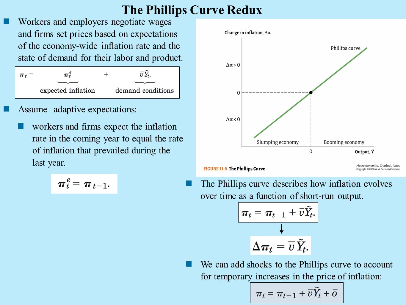 The Phillips Curve Redux Workers and employers negotiate wages and firms set prices based on expectations of the economy-wide inflation rate and the s