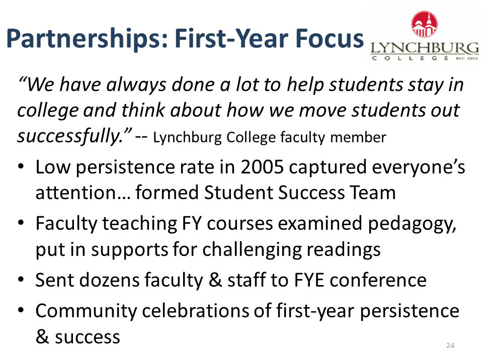 Partnerships: First-Year Focus We have always done a lot to help students stay in college and think about how we move students out successfully. -- Lynchburg College faculty member Low persistence rate in 2005 captured everyone's attention… formed Student Success Team Faculty teaching FY courses examined pedagogy, put in supports for challenging readings Sent dozens faculty & staff to FYE conference Community celebrations of first-year persistence & success 24