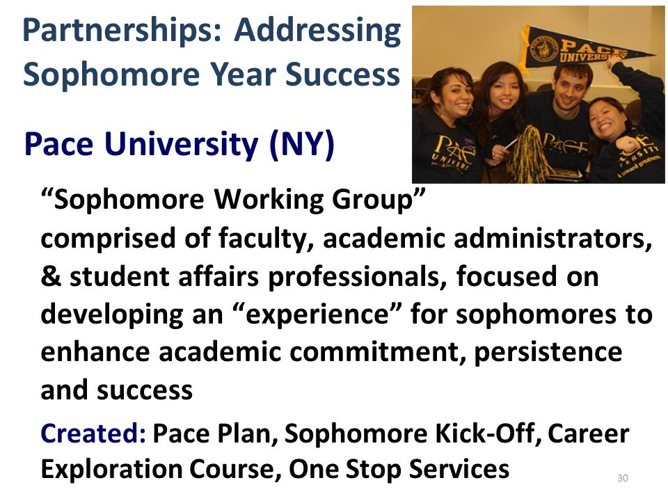 Partnerships: Addressing Sophomore Year Success 30 Pace University (NY) Sophomore Working Group comprised of faculty, academic administrators, & student affairs professionals, focused on developing an experience for sophomores to enhance academic commitment, persistence and success Created: Pace Plan, Sophomore Kick-Off, Career Exploration Course, One Stop Services
