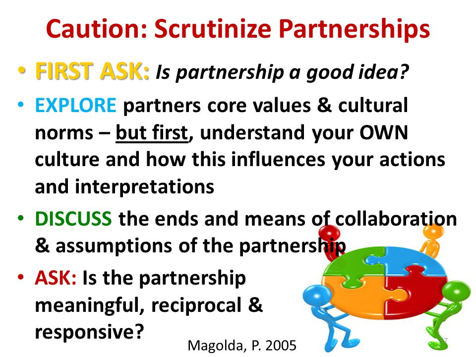 Caution: Scrutinize Partnerships FIRST ASK: FIRST ASK: Is partnership a good idea.