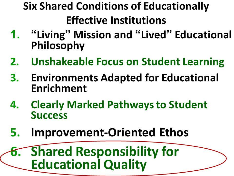 Six Shared Conditions of Educationally Effective Institutions 1. Living Mission and Lived Educational Philosophy 2.Unshakeable Focus on Student Learning 3.Environments Adapted for Educational Enrichment 4.Clearly Marked Pathways to Student Success 5.Improvement-Oriented Ethos 6.Shared Responsibility for Educational Quality