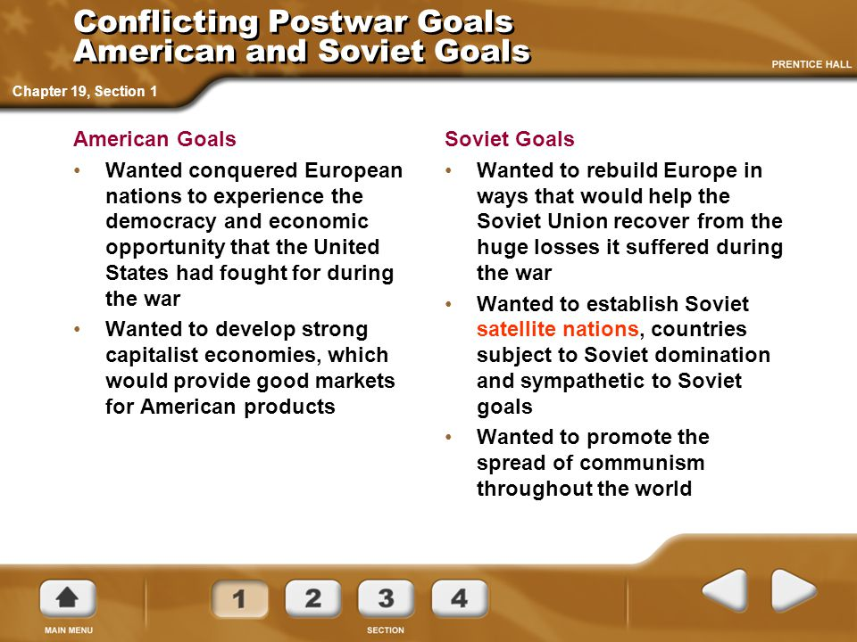 Conflicting Postwar Goals American and Soviet Goals American Goals Wanted conquered European nations to experience the democracy and economic opportun