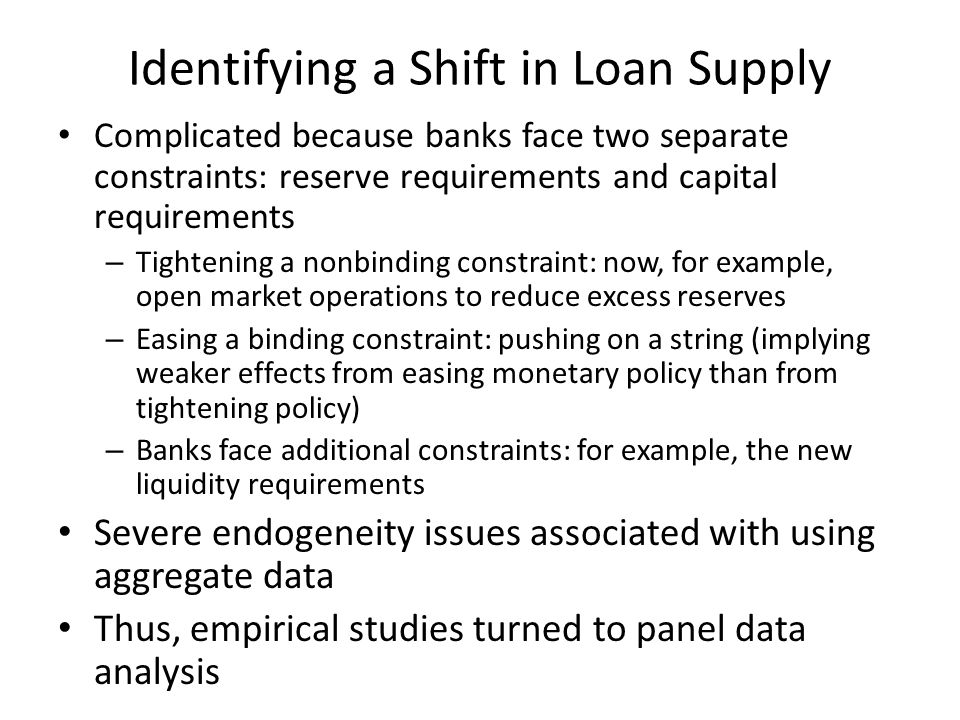 Identifying a Shift in Loan Supply Complicated because banks face two separate constraints: reserve requirements and capital requirements – Tightening a nonbinding constraint: now, for example, open market operations to reduce excess reserves – Easing a binding constraint: pushing on a string (implying weaker effects from easing monetary policy than from tightening policy) – Banks face additional constraints: for example, the new liquidity requirements Severe endogeneity issues associated with using aggregate data Thus, empirical studies turned to panel data analysis
