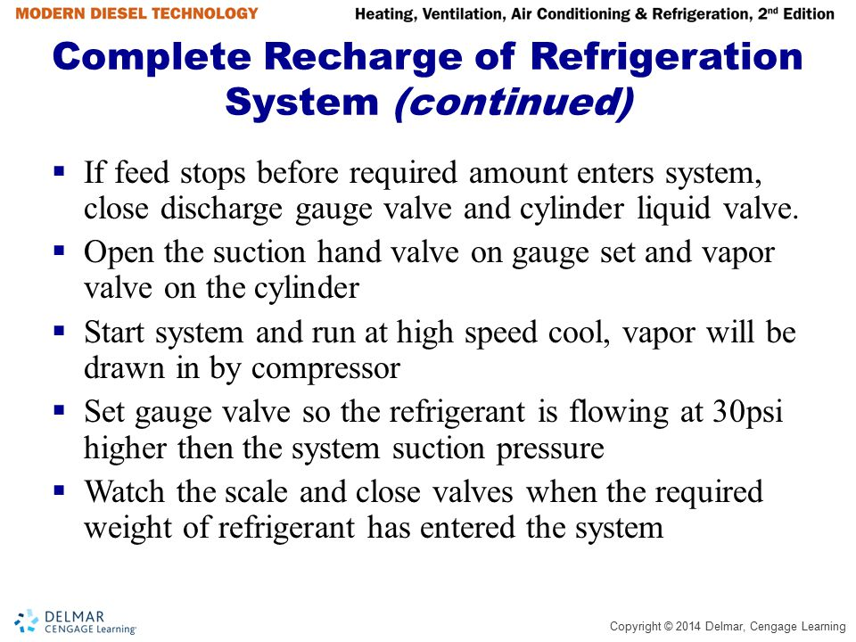 Copyright © 2014 Delmar, Cengage Learning Complete Recharge of Refrigeration System (continued)  If feed stops before required amount enters system,