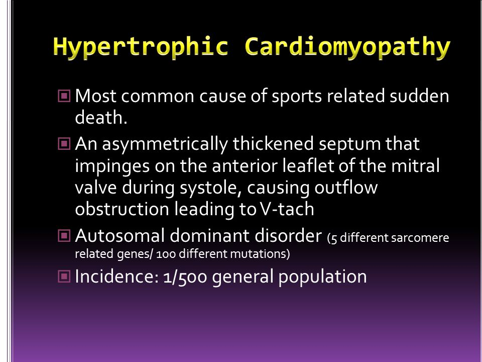Most common cause of sports related sudden death.