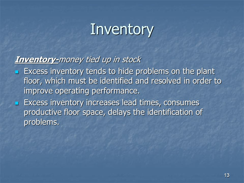 13 Inventory Inventory-money tied up in stock Excess inventory tends to hide problems on the plant floor, which must be identified and resolved in order to improve operating performance.