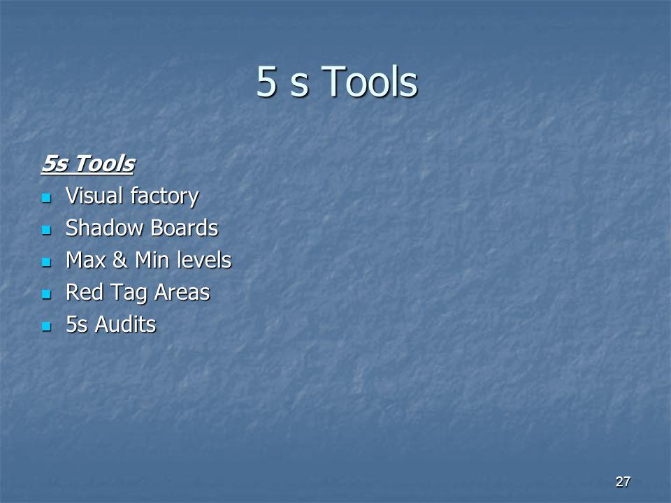 27 5 s Tools Visual factory Visual factory Shadow Boards Shadow Boards Max & Min levels Max & Min levels Red Tag Areas Red Tag Areas 5s Audits 5s Audi