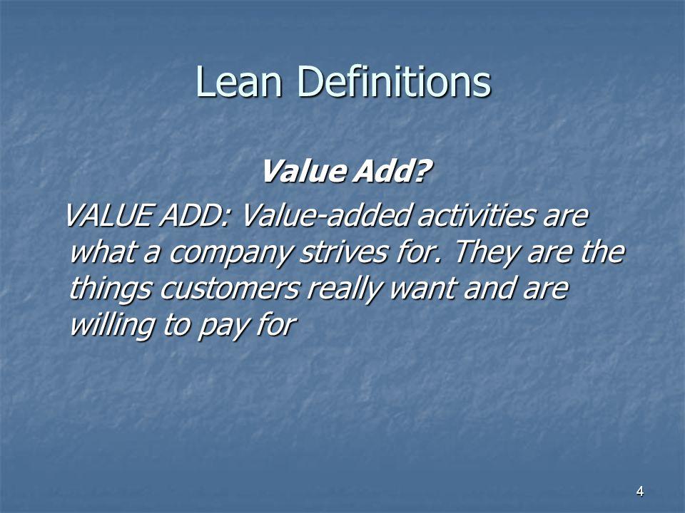 5 Lean Definitions Non Value Add.