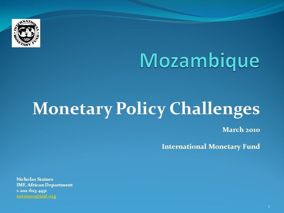 Monetary Policy Challenges March 2010 International Monetary Fund Nicholas Staines IMF, African Department 1-202-623-4431 nstaines@imf.org 1