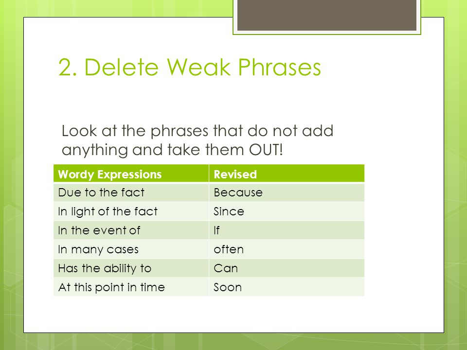 2. Delete Weak Phrases Look at the phrases that do not add anything and take them OUT.