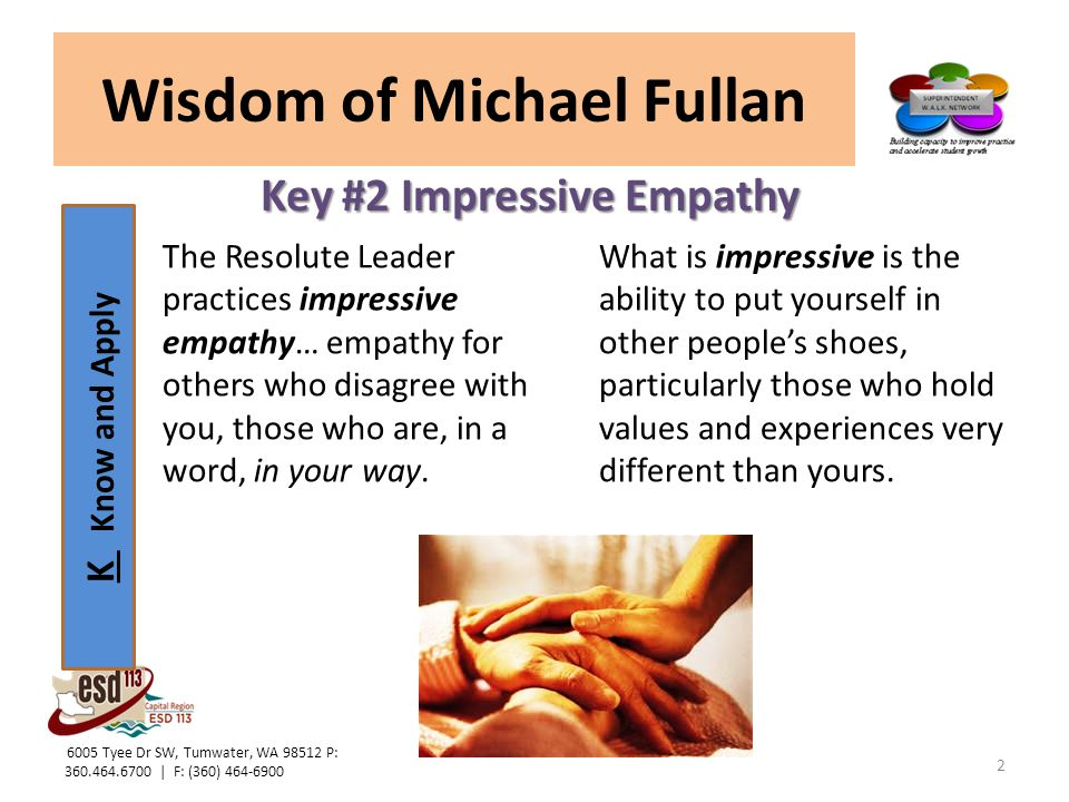 L Lead and Model Wisdom of Michael Fullan Key #2 Impressive Empathy Leaders with empathy do not see people's behavior as necessarily fixed.