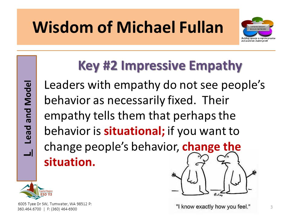 L Lead and Model Wisdom of Michael Fullan Key #2 Impressive Empathy Leaders with empathy do not see people's behavior as necessarily fixed. Their empa