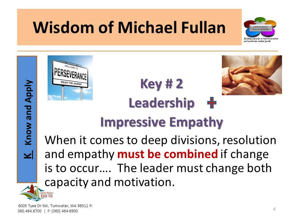 K Know and Apply Wisdom of Michael Fullan Let's watch Michele Rhee… https://www.youtube.co m/watch?v=r3CGM1m5J EI Does Michele Rhee show characteristics of Resolute Leadership.