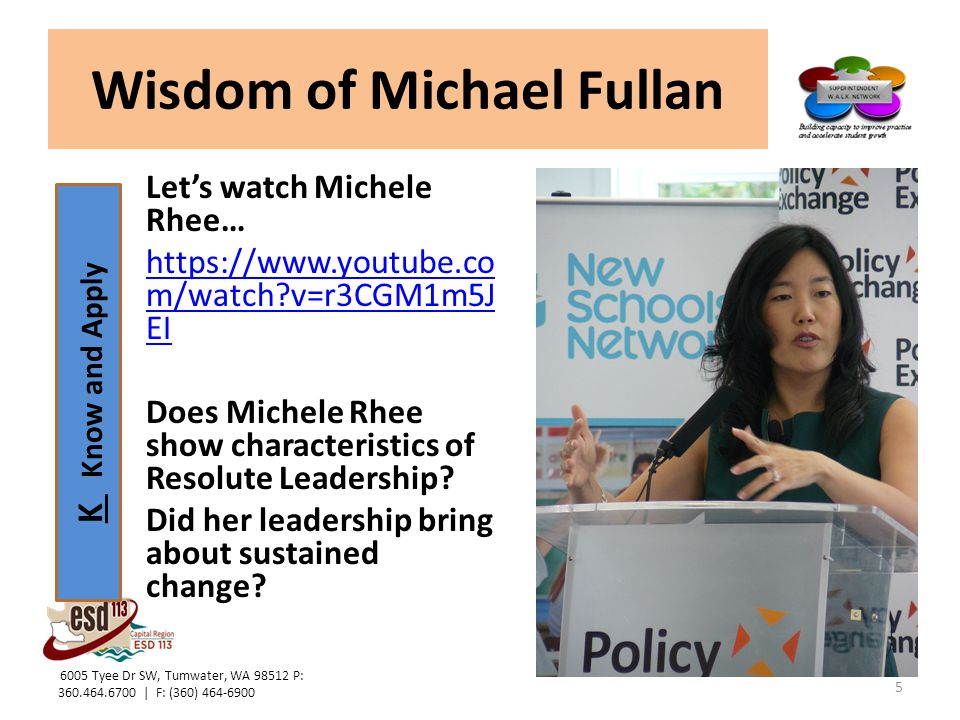 K Know and Apply Wisdom of Michael Fullan Let's watch Michele Rhee… https://www.youtube.co m/watch?v=r3CGM1m5J EI Does Michele Rhee show characteristi