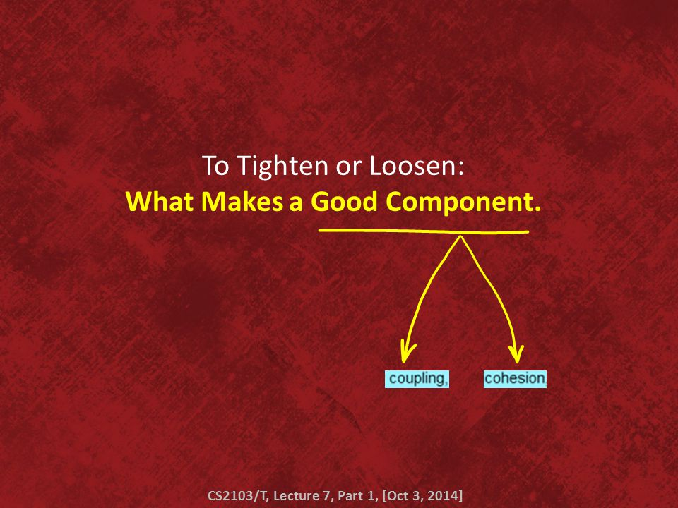 To Tighten or Loosen: What Makes a Good Component. CS2103/T, Lecture 7, Part 1, [Oct 3, 2014]