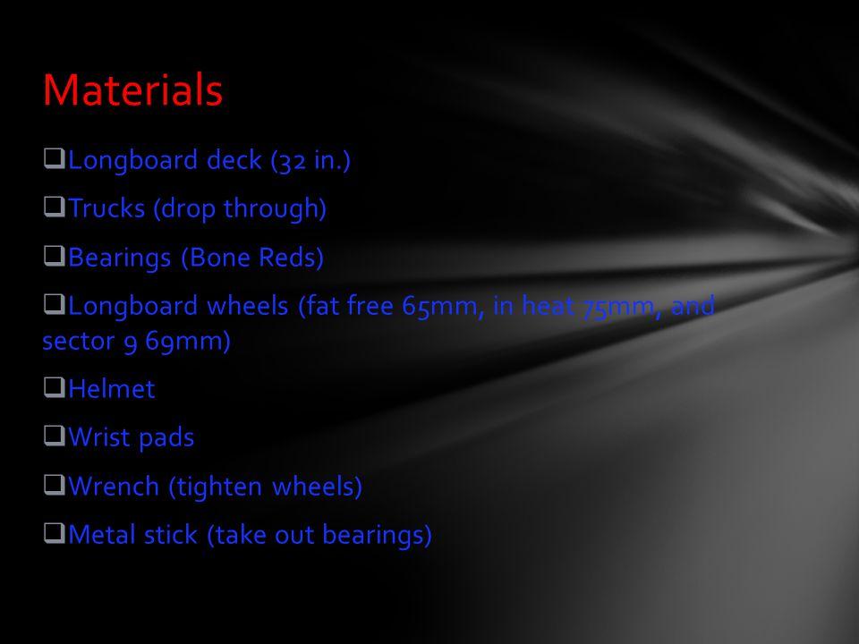  Longboard deck (32 in.)  Trucks (drop through)  Bearings (Bone Reds)  Longboard wheels (fat free 65mm, in heat 75mm, and sector 9 69mm)  Helmet
