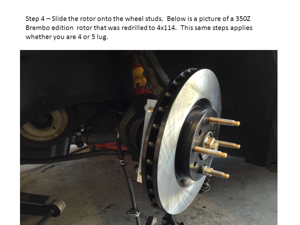 Step 5 – Now slide the supplied 9/16 bolts and washer through your caliper.