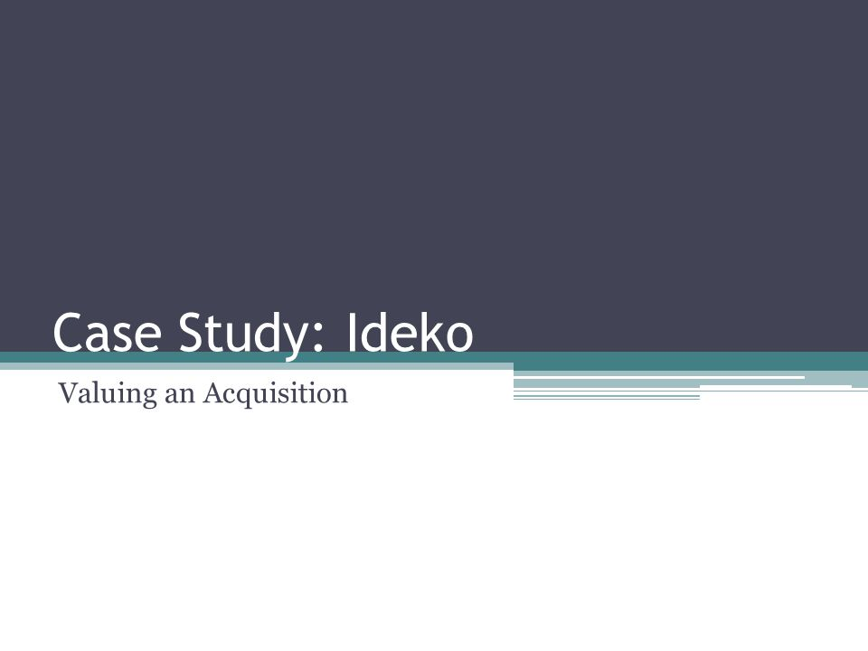 Valuation Using Comparables Consider Ideko Corporation, a privately held firm.