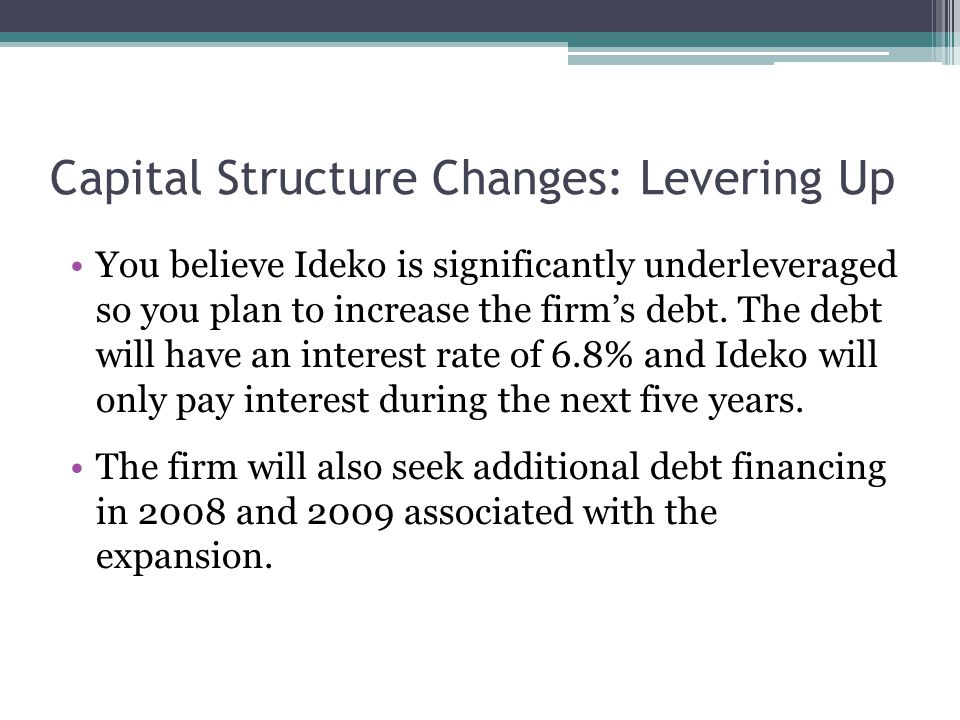 Capital Structure Changes: Levering Up You believe Ideko is significantly underleveraged so you plan to increase the firm's debt. The debt will have a