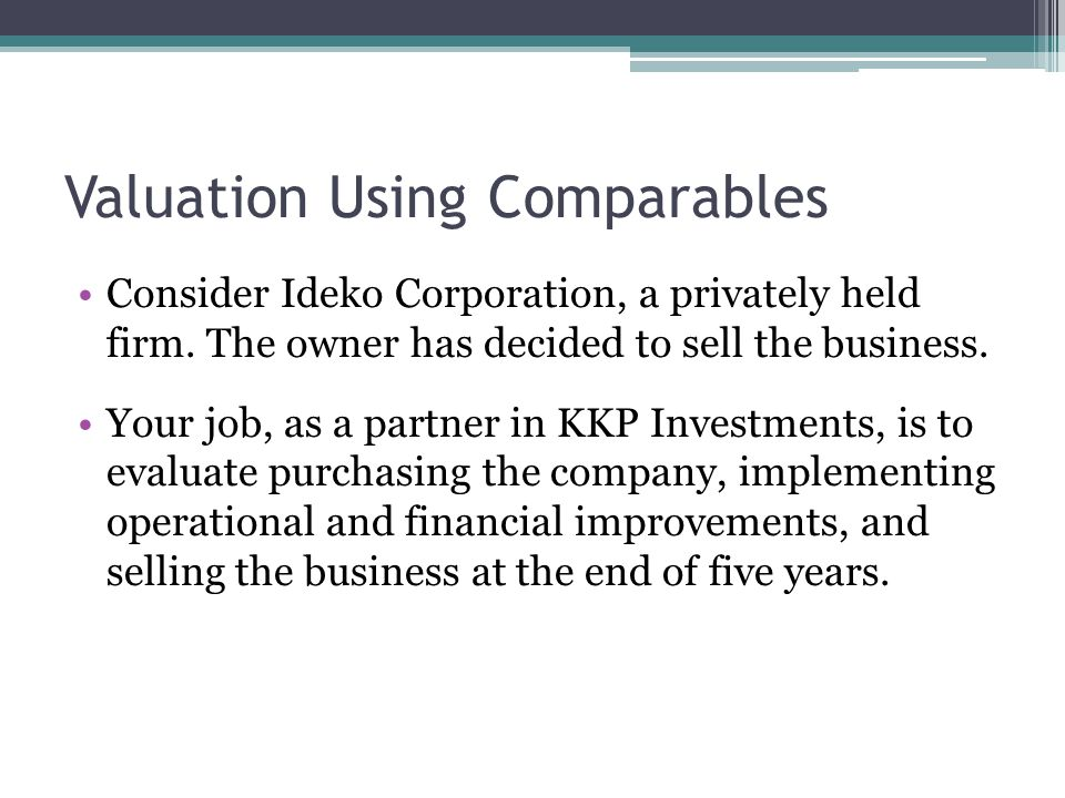 Valuation Using Comparables Consider Ideko Corporation, a privately held firm. The owner has decided to sell the business. Your job, as a partner in K